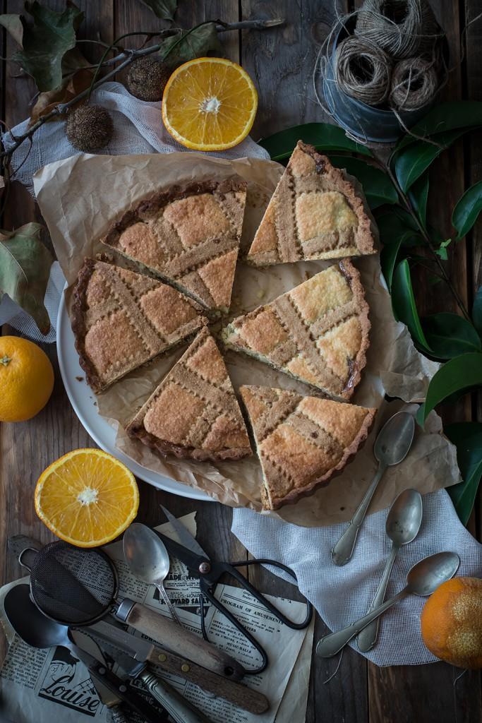 Crostata frangipane alla ricotta ed arance con frolla all'olio